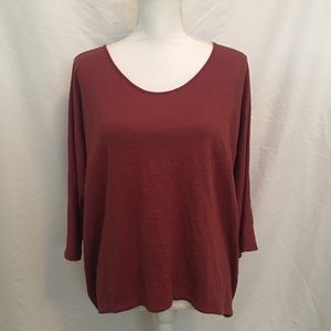 Eileen Fisher Linen High Low Boxy 3/4 Sleeve Top